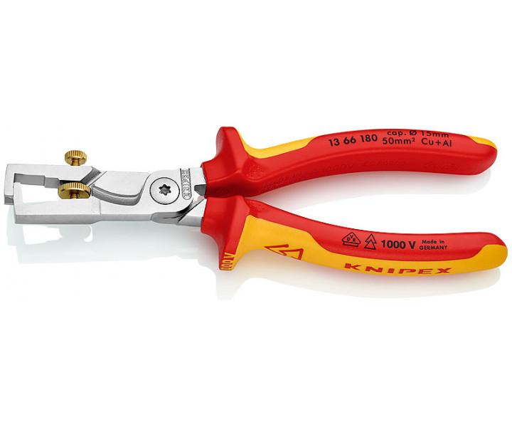 Клещи электроизолированные с накатанной головкой и контргайкой для удаления изоляции StriX® KNIPEX KN-1366180SB