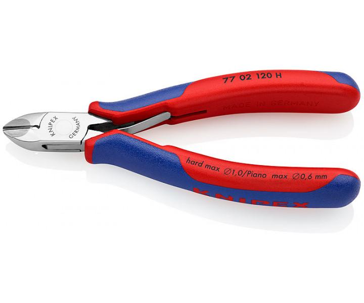 Кусачки боковые для электроники c запрессованным лезвием из твердых сплавов KNIPEX KN-7702120H